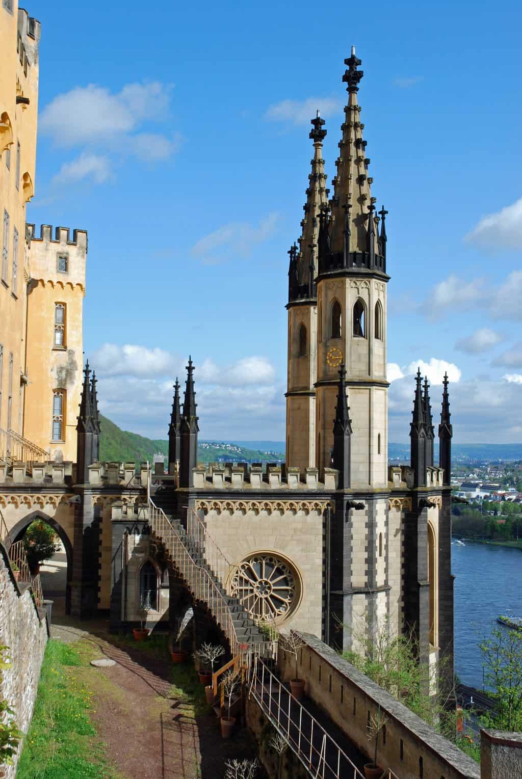 Schloss Stolzenfels Koblenz uitzicht op Rijn