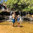 Pause am Wentworth Falls, mit unseren Laugenbrötchen