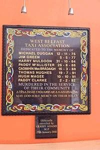Belfast Black Cabs Gedenktafel