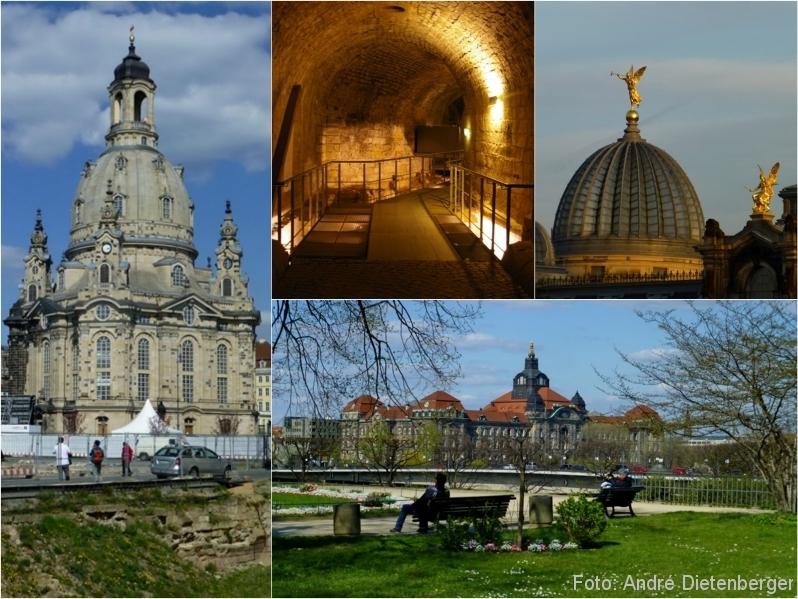 Dresden - Frauenkirche, Kasematten, Hochschule für Bildende Künste, Brühlscher Garten