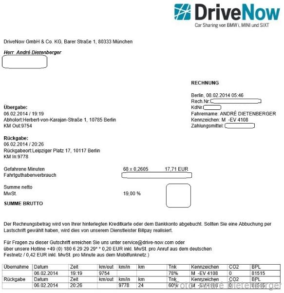 DriveNow ActiveE Berlin Rechnung