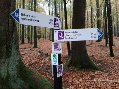 Benstem Reisefeder Hunsrück Steig Herbst Schild