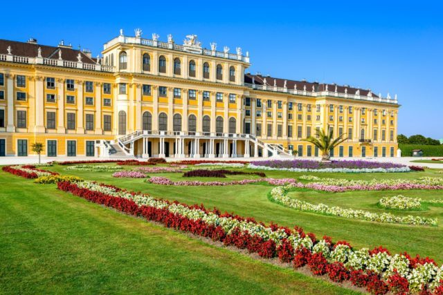 Austria Schonbrunn Palace in Vienna Its a former imperial 1441-room Rococo summer residence in modern Wien