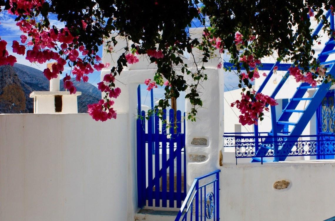 Blått og hvitt hus Amorgos Hellas