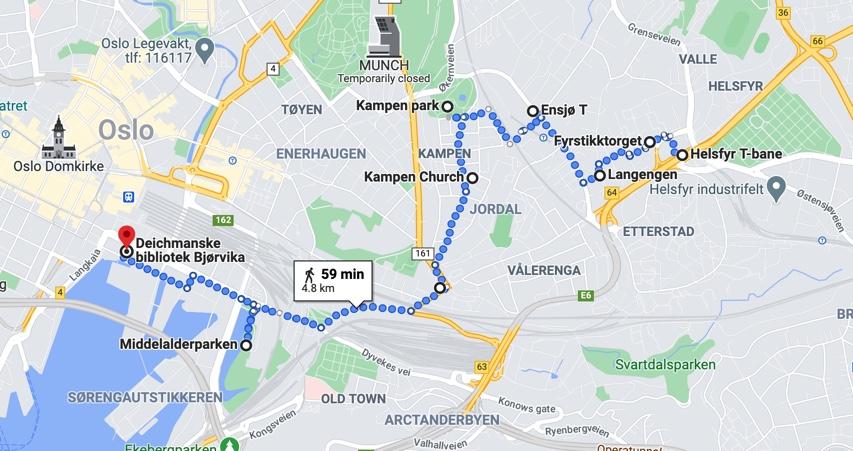 Rute Helsfyr til Bjørvika