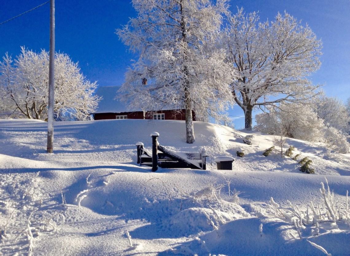Oslomarka med snø rød hytte