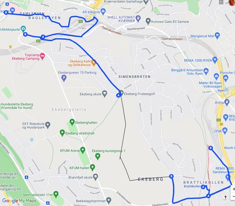 Kart Brattlikollen over Ekeberg