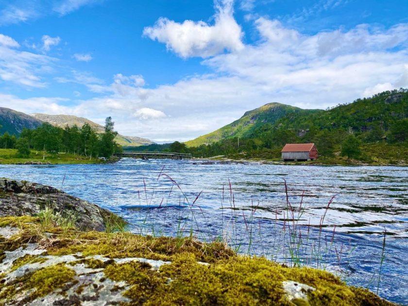 Utsikt over elv i viksdalen