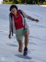 Eiertanz im Schnee mit kurzer Hose, aber es war nicht kalt.