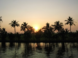Sonnenuntergang in den Backwaters