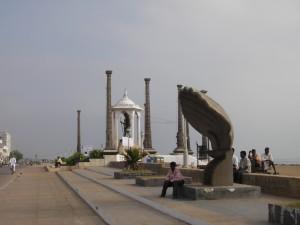 Gandistatue in Pondicherry im Franzoesischen Viertel