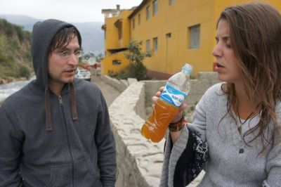 David und Carmen bei der Chicha-Probe nach dem Bad