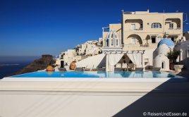 Exklusiver Pool in Firostefania (im Hintegrund Villa Ilias)