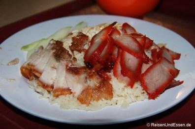 Zwei verschiedene Fleischsorten auf Reis