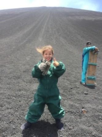 Vulkaanboarden vanaf de Cerro Negro vulkaan