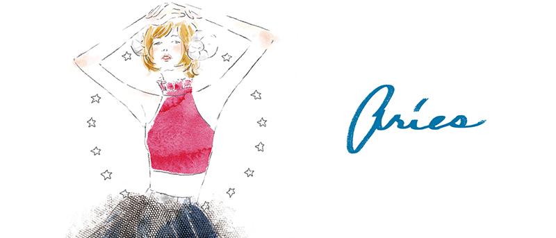 12星座 牡羊座 占い 占星術 イラスト 女性 ファッション 広告 web  美容  イラストレーター イラストレーション おしゃれ mook本 女性誌 女性向けWEBメディア horoscope astrology illustration fashionillustration woman illustrator aries イラストレーターreism・i(リズム)