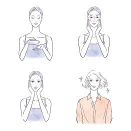 スキンケア をする女性 コスメ スキンケア メイク プロセスカット イラスト 女性 ファッション 広告 web  美容  イラストレーター イラストレーション おしゃれ illustration fashionillustration woman illustrator イラストレーターreism・i(リズム)