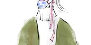 マスクをつけた女性 マスクファッション サスティナブル  ニューノーマル イラスト 女性 ファッション 広告 web  美容  イラストレーター イラストレーション おしゃれ  facemask illustration fashionillustration woman illustrator イラストレーターreism・i(リズム)