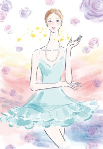 ドレスを着た女性 薔薇 イラスト 女性向け ファッション ブライダル 広告 web  美容  イラストレーター イラストレーション おしゃれ illustration fashionillustration woman illustrator イラストレーターreism・i(リズム)