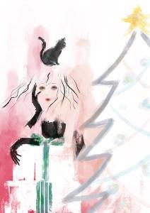 Merry Christmas ファッションイラスト 水彩調 イラスト 女性 ファッション 広告 web  美容  イラストレーター イラストレーション おしゃれ illustration fashionillustration woman illustrator イラストレーターreism・i(リズム)