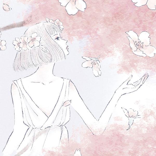 桜と女性のイラスト fairy of cherry blossom 女性向け ファッション 広告 web  美容  イラストレーター イラストレーション おしゃれ コスメ メイク カットイラスト 挿絵 ファッションイラストレーション ファッション drawing illustration fashionillustration illustrator イラストレーターreism・i(リズム)
