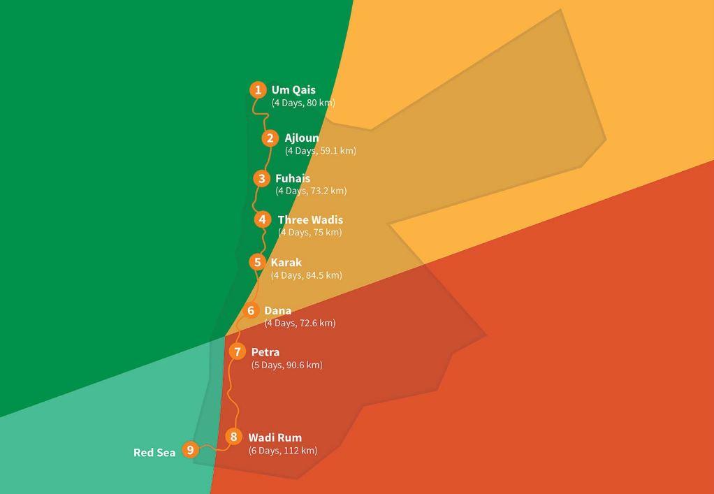 jordan trail route kaart
