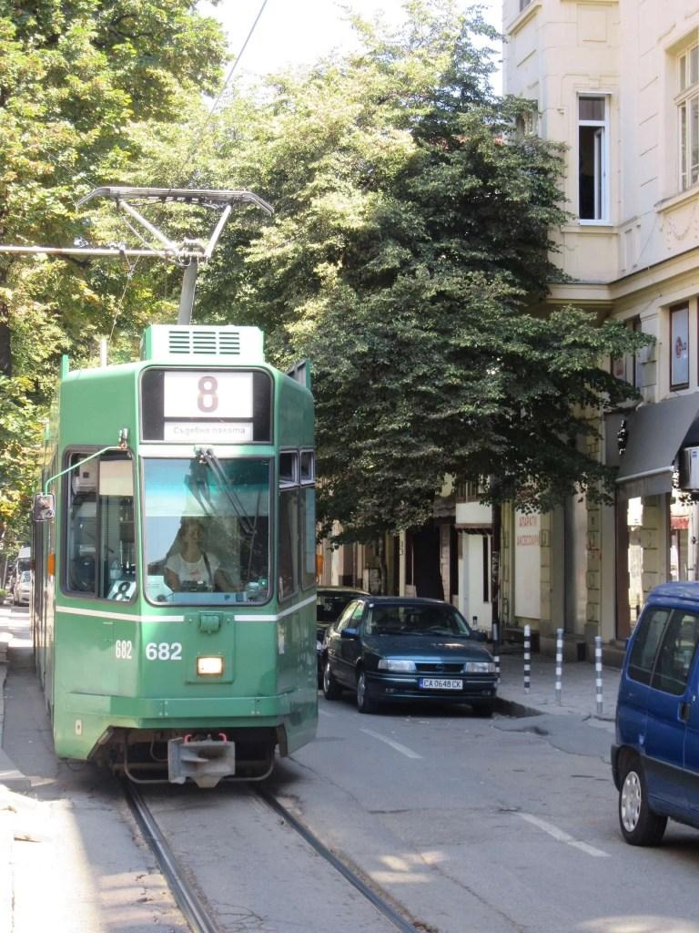 Tram in Sofia vanaf het centraal station