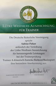 Urkunde besondere Anerkennung