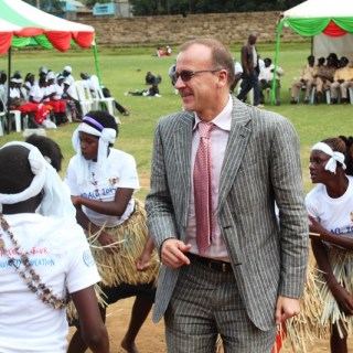 A European Union senior official, Uwe Wissenbach, in a jig at a public function in Meru County, where he lamented that child labour was one of the biggest obstacle to achieving universal primary education. [Photo: Wahinya Henry]