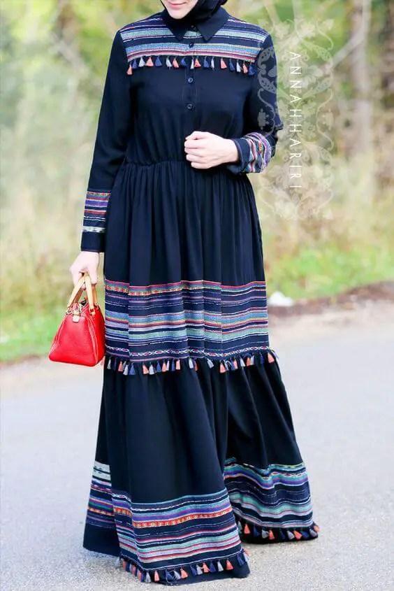 abaya blue donker