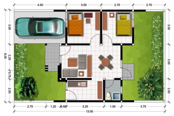 denah rumah minimalis sederhana 2 kamar