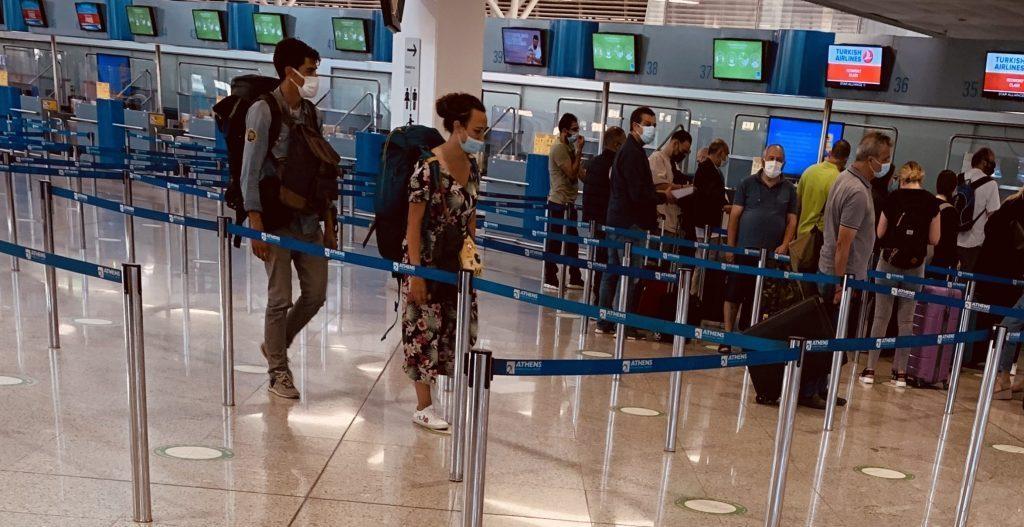 ギリシャ、アテネ、空港、チェックイン、旅行