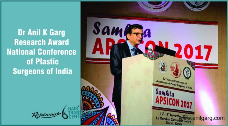 Dr Anil K Garg - Research Award National Conference of Plastic Surgeons of India