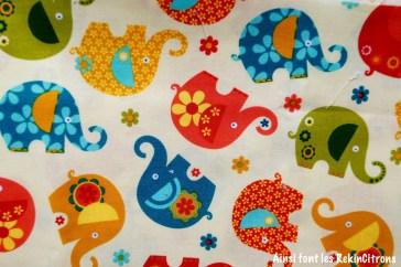 tissu miller elephants jaune detail