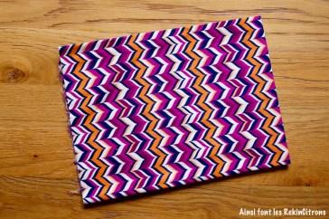 tissu zigzag violet orange