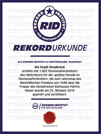 RID-Urkunde Steckenpferdreiter Osnabrück