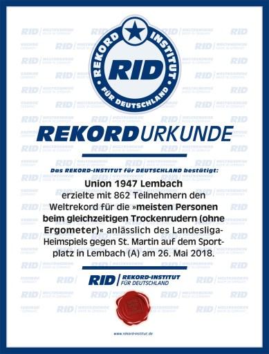 RID-Urkunde-Trockenrudern-Union-Lembach