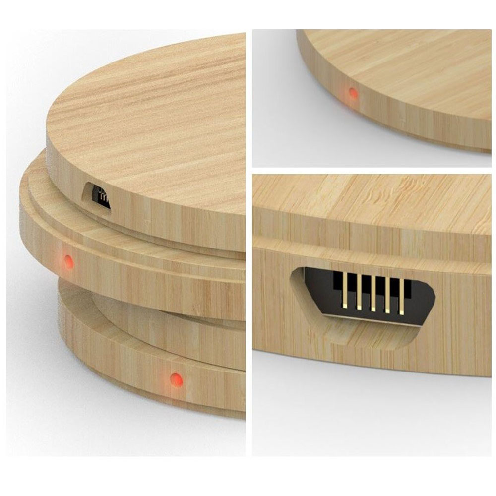 draadloze oplader bedrukken logo bamboe relatiegeschenk