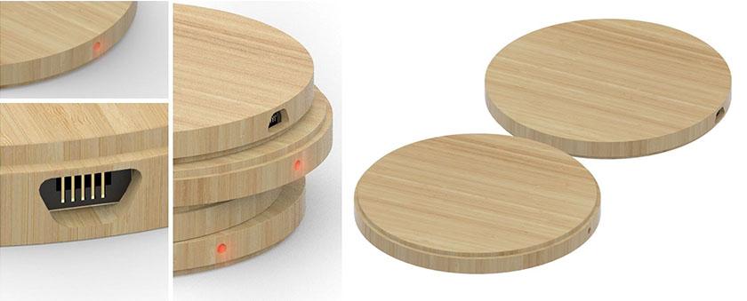 draadloze oplader bedrukken logo bamboe relatiegeschenken
