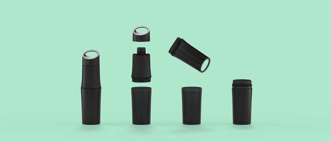 BE O Bottle zwart met logo bedrukt