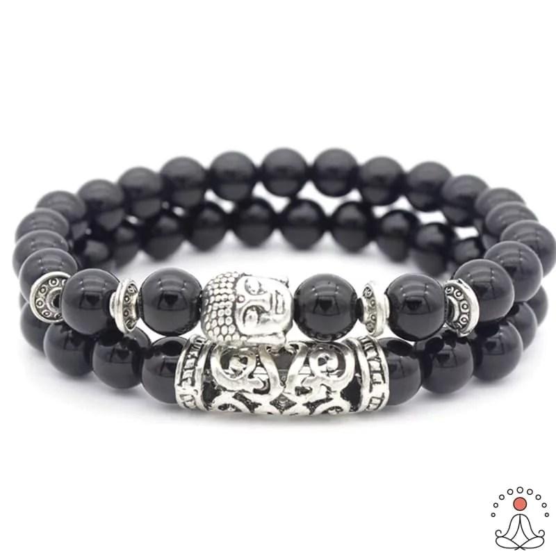 """Bracelet Bouddha """"Double Protection"""" en Onyx noir"""