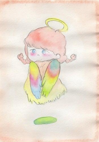 カラフルな色の羽根の天使のイラスト