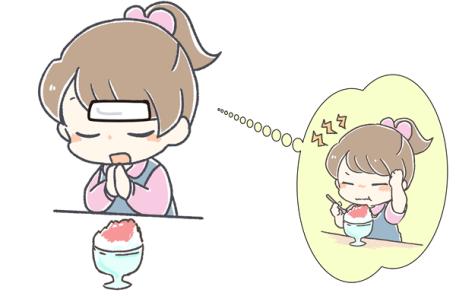 おでこを冷やしてかき氷を食べる人のイラスト