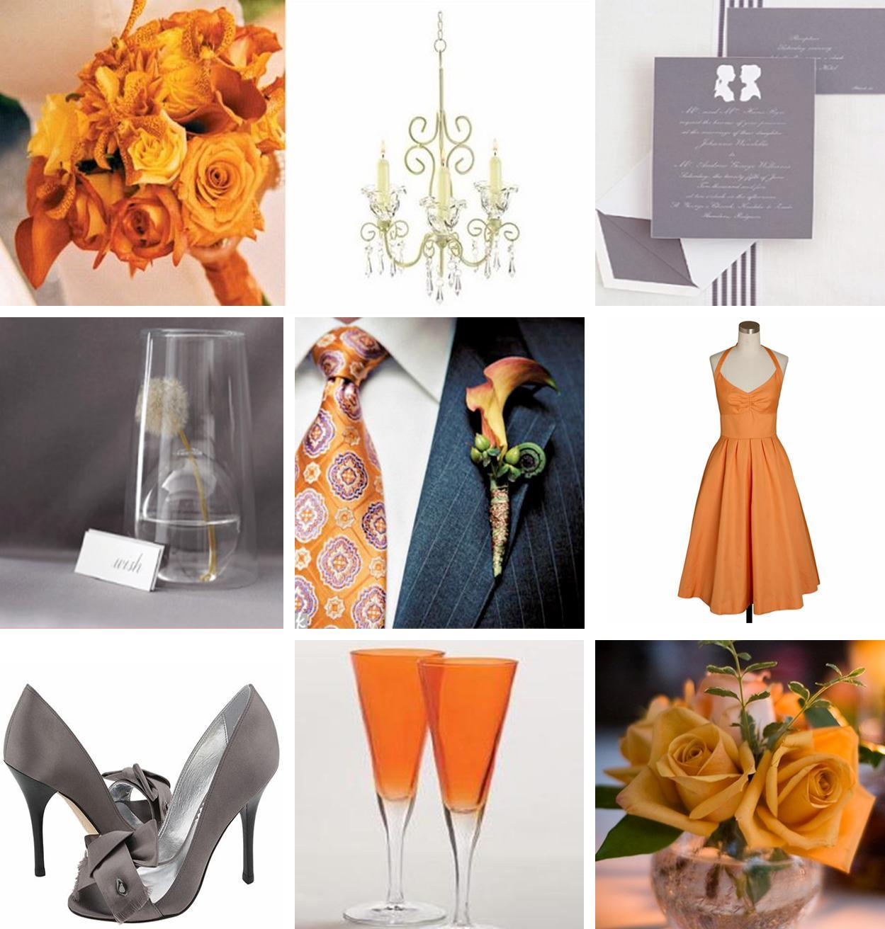 orange and gray wedding colors  relaxedbride