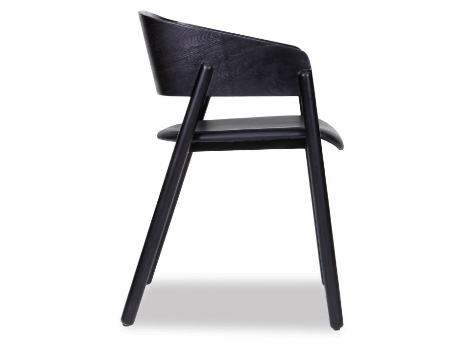 Black Stained Bentwood Seat With Black Pad