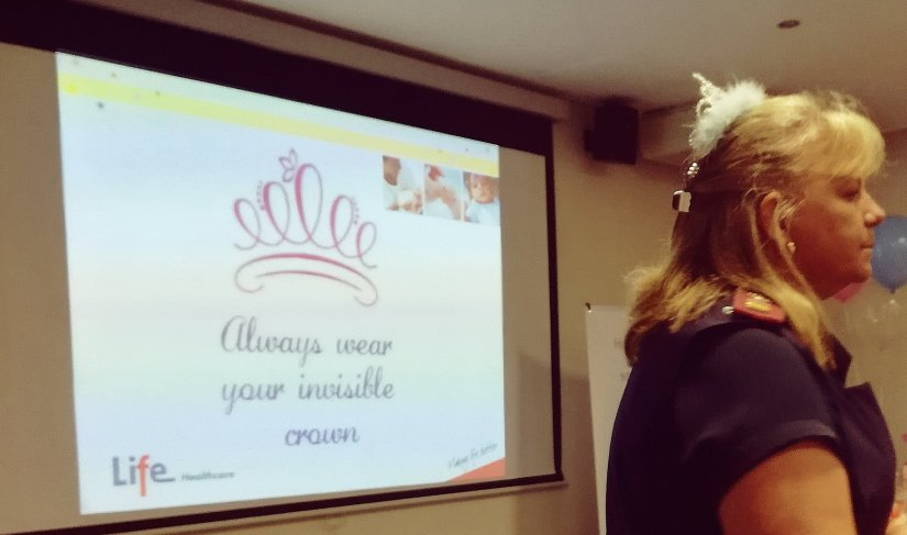 Sister Donnachie reminding mothers to wear their invisible crowns.