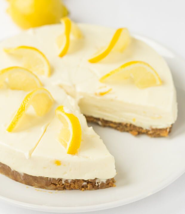 Lemon Crunch Cheesecake by Neil of NeilsHealthyMeals.com.