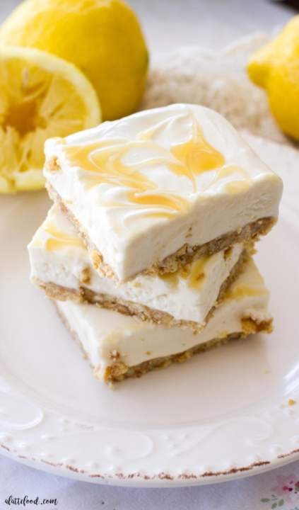 No Bake Lemon Cheesecake Bars by Michelle of  ALatteFood.com