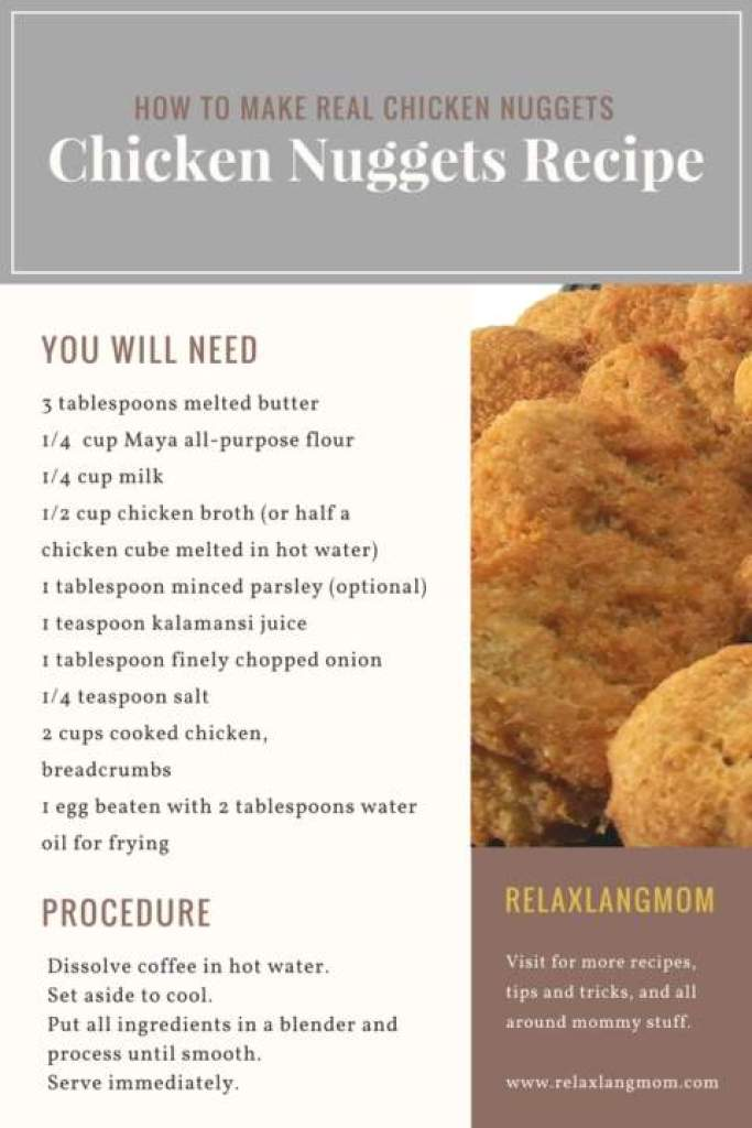 The real chicken nuggets relax lang mom lifestyle motherhood click the print button to print the document as pdf you can also share the recipe below on your pinterest or right click to save it on your computer forumfinder Image collections
