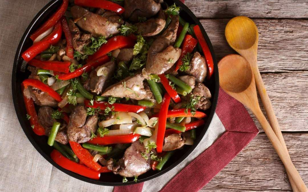 Chicken Liver with Beans, Peppers, and Onions